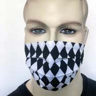 Waschbare Baumwoll-Mund- und Nasenmaske-  2-lagig - Raute schwarz-weiß